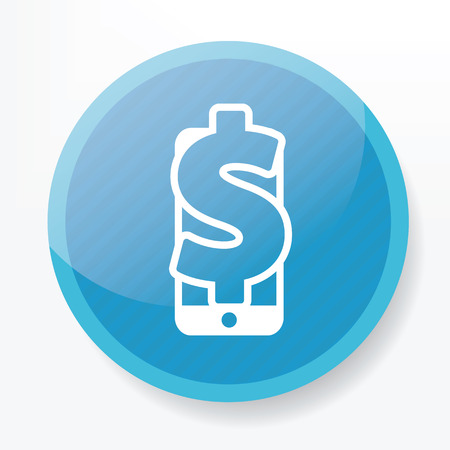 ebusiness: Make money icon on blue button,clean vector