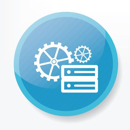 database management: Database management on blue button,clean vector Illustration
