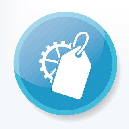 search engine optimized: Tag on blue button Illustration