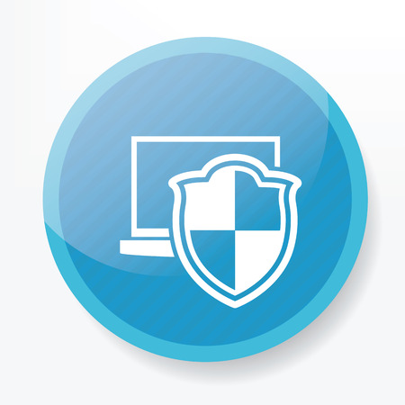 Security laptop on blue flat button Illustration