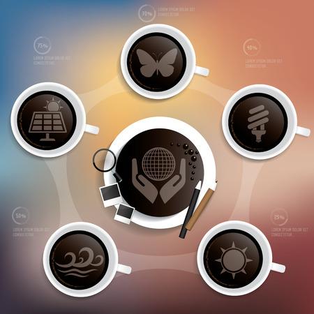 Ecology design on blur background,clean vector Illustration