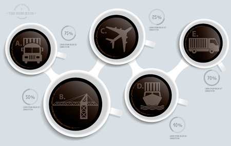 coffee hour: Logistic on coffee info graphic design,clean vector