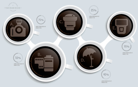 neutral density filter: Photography on coffee info graphic design,clean vector