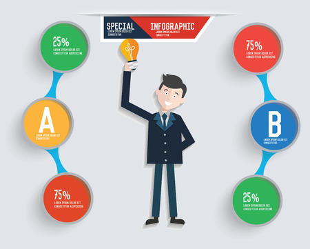 Businessman info graphic design,clean vector Illustration