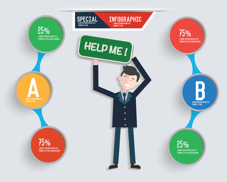 overflow: Businessman info graphic design,clean vector Illustration