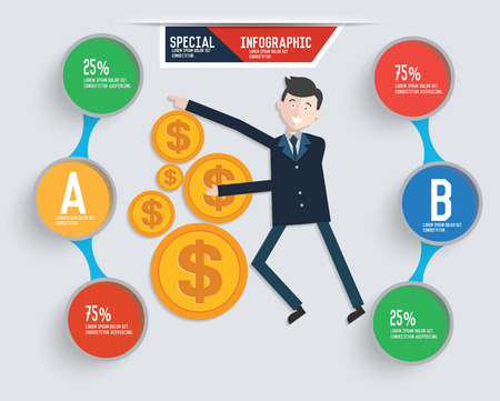 clip art cost: Businessman info graphic design,clean vector Illustration