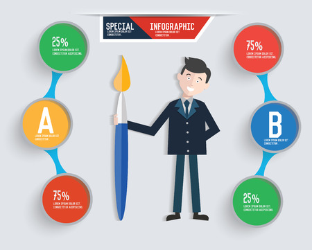 hesitating: Businessman info graphic design,clean vector Illustration