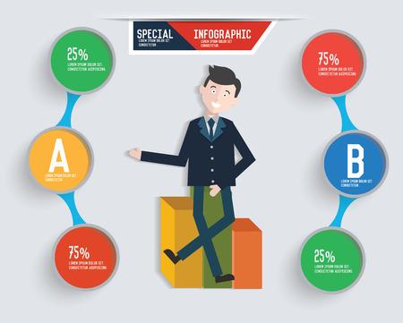 ceo: Businessman info graphic design,clean vector Illustration