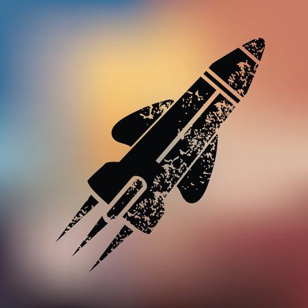 Rocket design on blur background,grunge vector