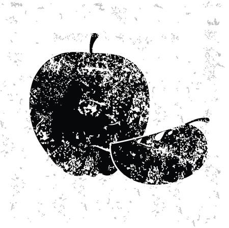 whitern: Apple design on old paper,grunge vector Illustration