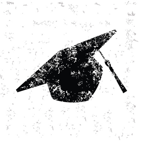 Hat education design on old paper,grunge vector
