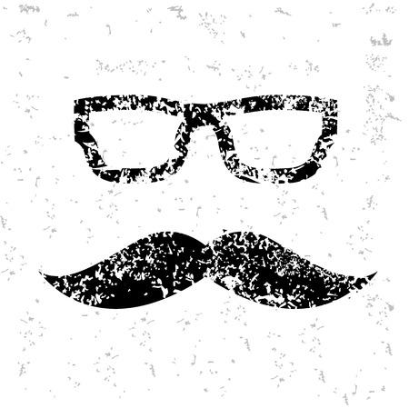 Mutache design on old paper,grunge vector Illustration