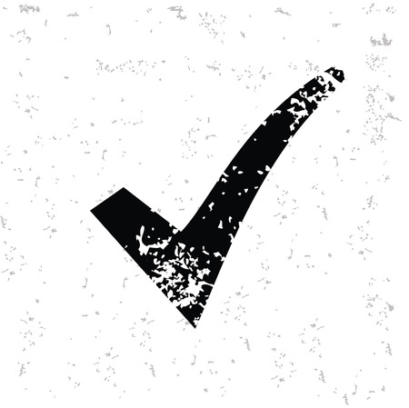 old mark: Check mark design on old paper,grunge vector Illustration