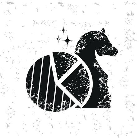 Chess design on grunge background