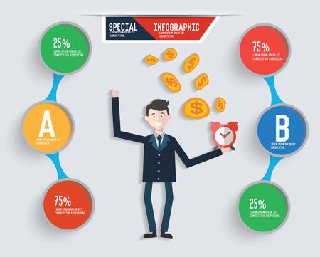 clip art cost: Make money and businessman info graphic design,clean vector Illustration