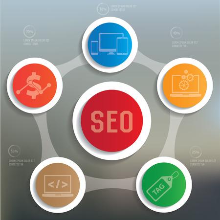 SEO info graphic design on blur background