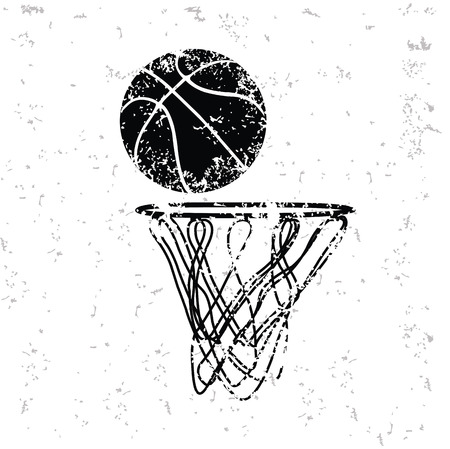 hoop: Basketball design on old paper