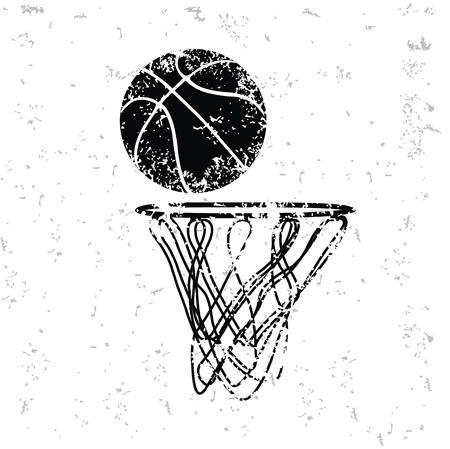 canestro basket: Disegno Pallacanestro sulla vecchia carta