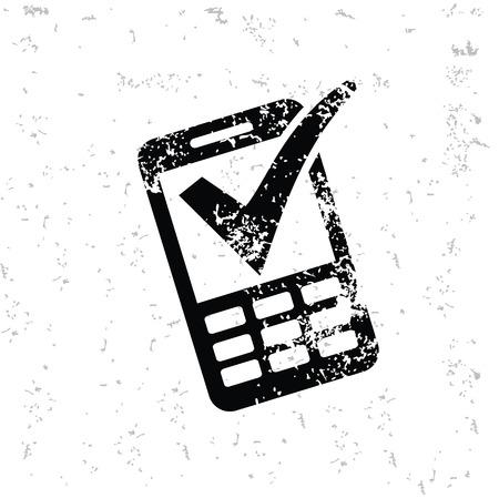 old mark: Mobile check mark design on old paper