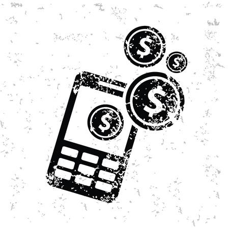 e ink: Make money design on old paper Illustration
