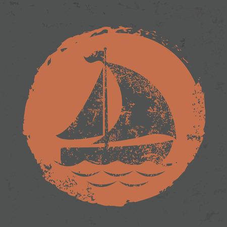 hull: Boat design on grunge background