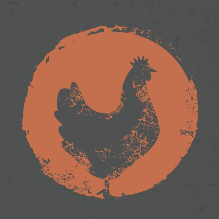 pollo caricatura: Dise�o de pollo en el fondo del grunge Vectores