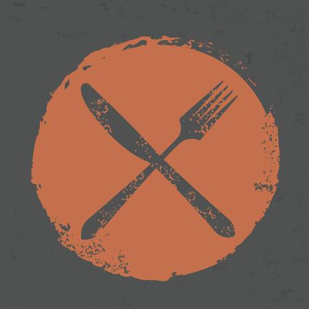 grunge flatware: Spoon design on grunge background