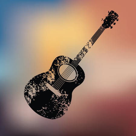 Guitar design on blur background