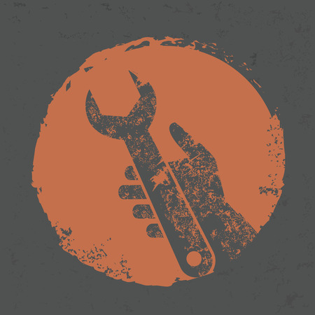 turn screw: Repair design on grunge background