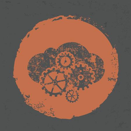 vintagern: Cloud computing design on grunge background Illustration
