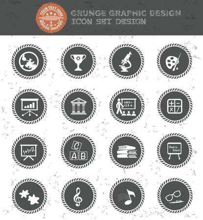 web cams: Education icon set Illustration