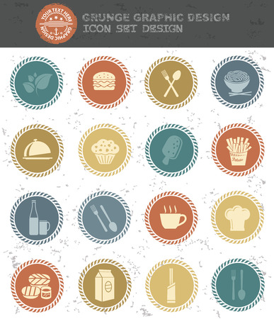 rnabstract: Food and drink icons,retro style,clean vector