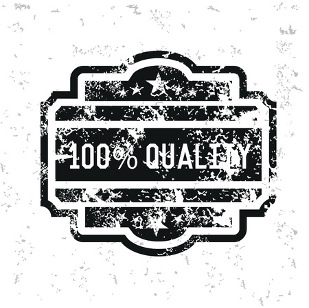 Quality badge design on old paper,grunge vector Illustration