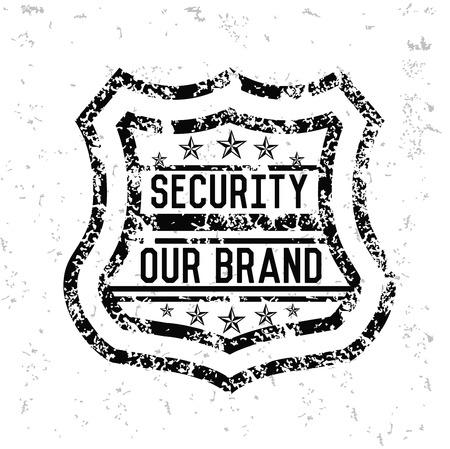 defensive: Security badge design on old paper Illustration