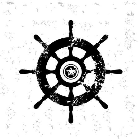 Boat symbol design on old paper
