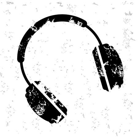 earbud: Earphone design on old paper Illustration