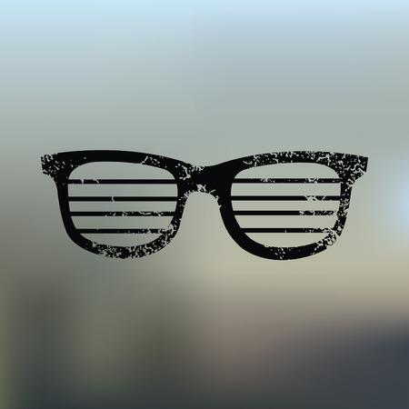 corrective lenses: Glasses design on blur background Illustration