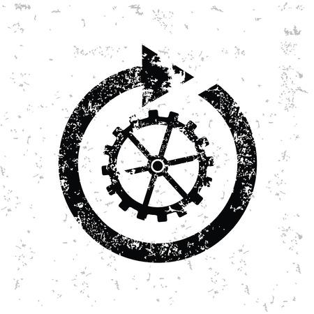 whitern: Gear design on old paper,grunge vector