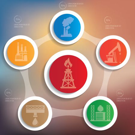 Oil Industry info graphic design on blur background