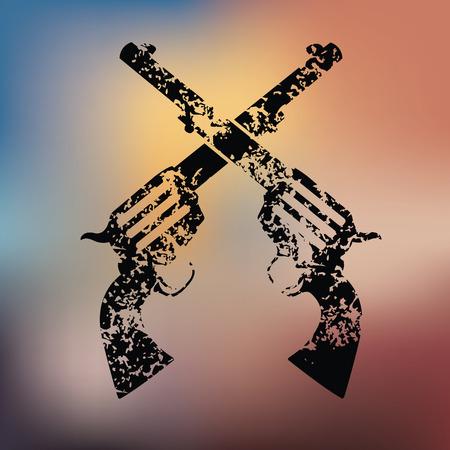 luger: Guns design on blur background,grunge vector