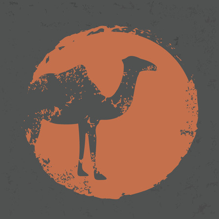 hoofed mammal: Camel design on old paper