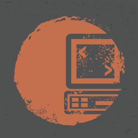 Computer design on grunge background Vector