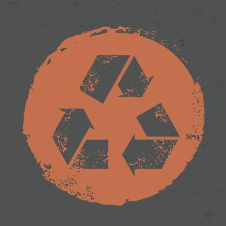 Recycle design on grunge background, grunge vector Illustration