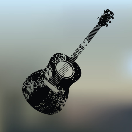 Guitar design on blur background,grunge vector