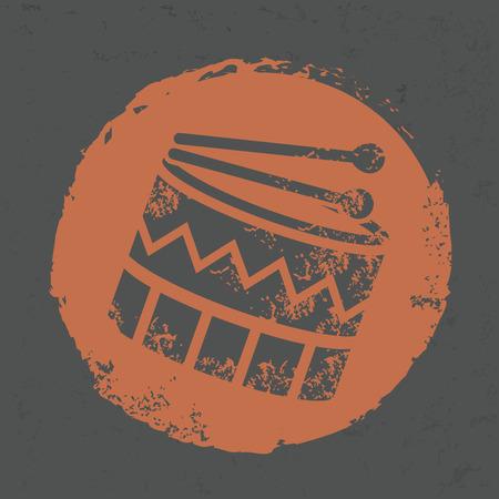 Drum design on grunge background, grunge vector