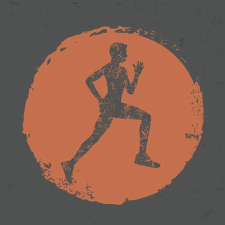scamper: Running design on grunge background,grunge vector