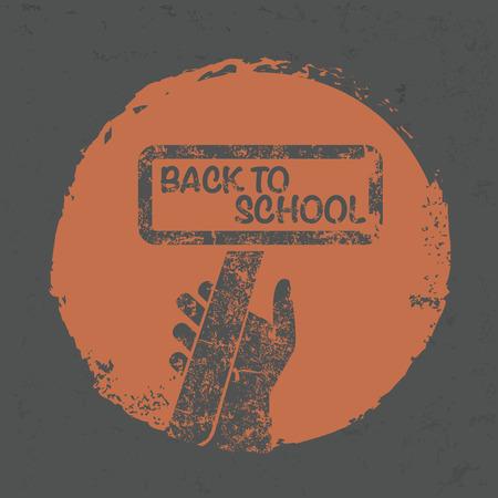 ful: Back to school symbol on grunge design,grunge vector Illustration