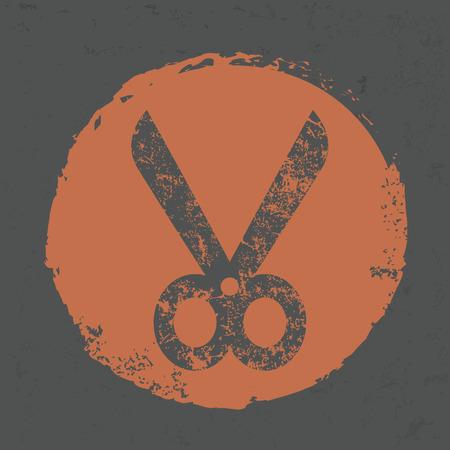 hairstyling: Scissor design on old background,grunge vector Illustration