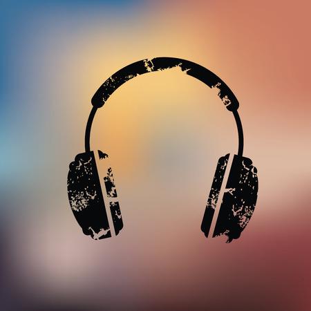 vintagern: Earphone design on blur background,grunge vector