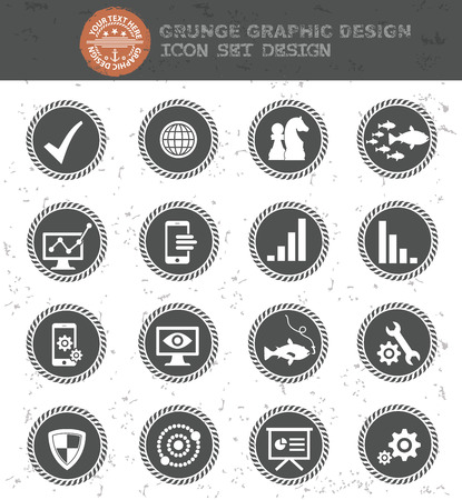 Strategy of business icon set,black button,clean vector Vector